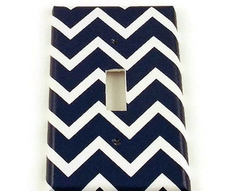 Wall Decor Light Switch Cover  Switch Plate Switchplate in Navy Chevron   (208S)