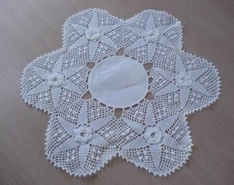 Vintage Handmade Irish Crochet Doily - Linen Center - White Color - 10 Inch - #48