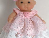 """Crochet and Lace Dress for 5"""" Berenguer Lots to Love doll, PaulineAnneCrochet. Pink Heart"""