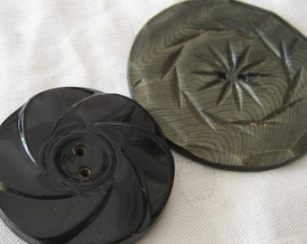 2 ANTIQUE Large Spiral Design Celluloid BUTTONS