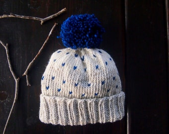 Children's Winter Hat | Hand Knit Baby Hat | Winter Hat | Indigo Pom Pom Hat | Ivory and Blue Toddler Hat | Ready to Ship
