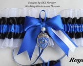 Police Officer Wedding Garter Handmade White Black and Royal Blue Garter