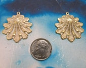 Gold Plated Frosted White Patina Shell Pendants Brass Charms 123WHT x2