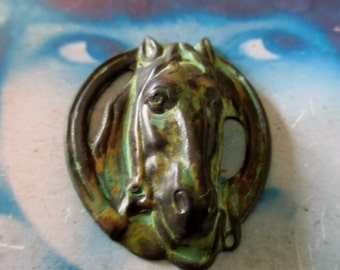 Handaged Verdigris Patina Brass Large Horse Head Stamping Charms 517VER x1