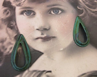 Hand Aged Verdigris Patina Brass Tear Drop Earring Hoops 201VER  x2
