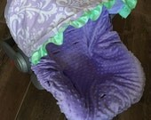 Infant Car Seat Cover, Baby Car Seat Cover in Violet and White Paisley with Lavender minky seat cover, Ruffle Optional