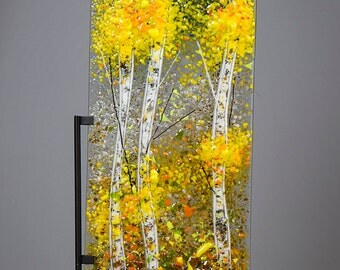 Fused Glass Decorative Panel - BluDragonfly SRA - Fall Scene - Aspen Tall Panel