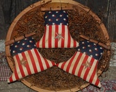 SET OF THREE Primitive Americana Liberty Bell Tucks Patriotic Bowl Filler July 4th Ornies