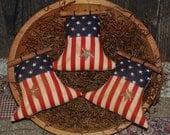 SET OF THREE Primitive Americana Liberty Bell Tucks Patriotic Bowl Filler July 4th Ornies