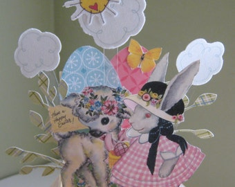 Vintage Easter pop up card in a box