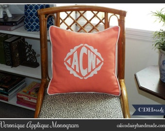The Veronique Applique Framed Monogrammed Pillow Cover - 18 x 18 square