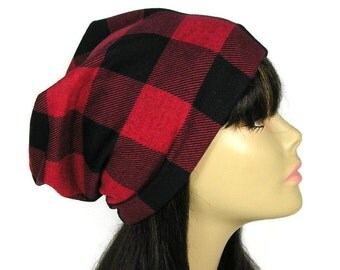 Buffalo Check Plaid Hat Buffalo Check Lined Slouchy Beanie Red Black Check Slouch Hat Lumberjack Hat Lumberjack Slouch Hat  Mens  Slouch Hat