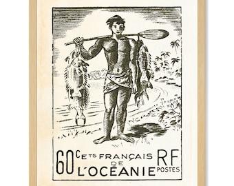 Tropical Art Print, Postage Stamp Art, Vintage Wall Art, French Polynesia, Tropical Décor, Polynesian Décor, South Pacific Art, Beach Decor