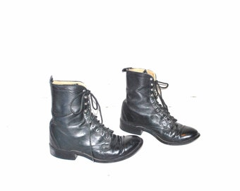 70s black WESTERN boots vintage 1970s Laredo Ropers retro black leather lace up cowboy boots size 9