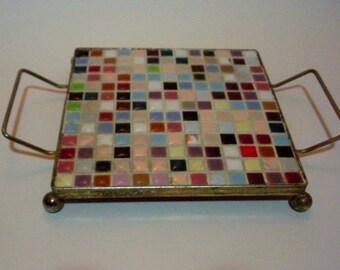 Vintage Ceramic Tiles Hot Plate Mosaic Tiles Mid Century Trivet