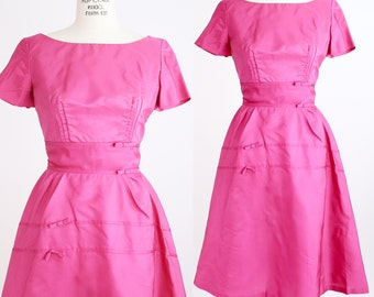 Vintage 1950s Emma Domb Dress | Bright Pink Nylon Taffeta Fit + Flare Dress | XXS
