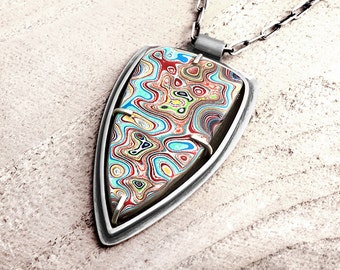 Fordite necklace, Detroit Agate necklace, fordite jewelry, girlfriend gift, wife gift, sterling mens necklace, gift for him, mens jewelry