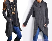 Snow lover - deconstructed cardigan / asymmetrical knit cape / scarf collar sweater / heather black jacket / gray jacket (Y1573)