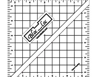 "Bloc-Loc 5.5"" Inch Ruler - Half Square Triangle Ruler - Square Up Ruler for HST - Quilting Tool"