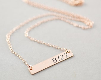 Rose Gold Bar Necklace, Personalized Jewelry, Sterling Bar Necklace, Gold Bar Necklace, Date Jewelry