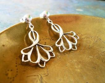 Art Nouveau Earrings. Vintage Style Earrings. Solid Sterling Silver Earrings. Drop Post Earrings. Classic Drop Earrings.