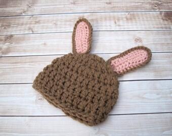 Baby Bunny Hat, Baby Easter Bunny Hat, Easter Baby Hat, Baby Spring Hat, Crochet Baby Hat, Baby Girl Bunny Hat, Newborn Bunny Hat, Brown
