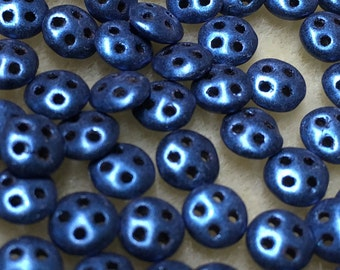 Blue Suede CzechMates QuadraLentil Czech Glass Beads 6mm 60 pcs   QDL06-79031MJT