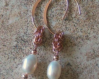 Genuine Freshwater Pearl Chainmaille Dangle Earrings, 14kt Rose Gold Filled, Cavalier Creations
