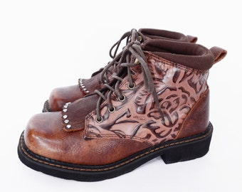 90's vintage CHUNKY tooled leather boots // lace up ankle boots // rhinestone studs // women's size 6