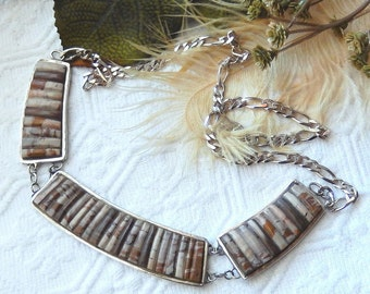 One of a Kind .925 Sterling Silver Jasper Bib Statement Necklace