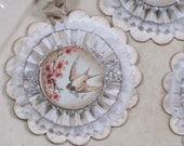 RESERVED for Vinatage Rose Set of THREE  Vintage inspired Victorian EASTER Gift Tags Ornaments White Pink Swallowtail Birds