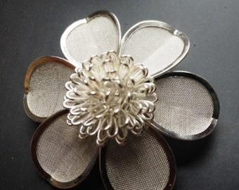 Anne Klein Vintage Silver Tone Flower Pin