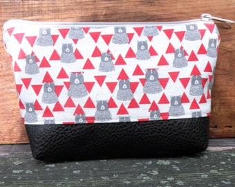 Zippered Top, Cosmetic pouch, Bear Print bag, Makeup Organizer, Vegan cosmetic pouch, Clutch bag, Travel Organizer, Faux Leather bottom