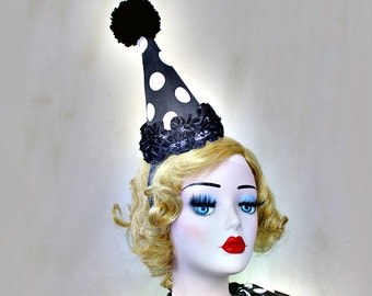 Clown Hat, Birthday Party Hat, Halloween Costume, Circus Costume, Kids Costume, Cirque Costume, Classic Clown, Black and White Polka Dot