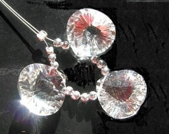 55% OFF SALE AAA Crystal Quartz concave cut heart shaped briolettes 14x14mm 3 Piece set matched pair and a focal