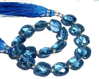 55% OFF SALE 8 Inches - Outrageous AAA London Blue Quartz Faceted Cushion Briolettes Size 10x10mm approx