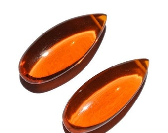 55% OFF SALE 2 Pcs Orange Quartz Smooth Polished Pear Briolette Size 25x11mm Approx