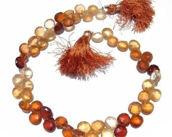 55% OFF SALE Full 8 inches - Genuine Hessonite garnet faceted heart shaped briolettes in size of 7 - 8mm approx