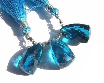 50% Off Valentine day 3 Piece Set - AAA Teal Blue Quartz Faceted Fancy Elongated Trillion Briolette Size 20x12 - 21x15mm approx