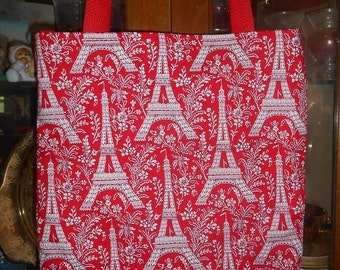 Eiffel Eifel Tower Tote Bag Paris France Fun Lunch or Book Bag Handmade Purse