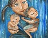 Sweet Sky, mother and 2 children in the rain, signed motherhood print by Katie m. Berggren