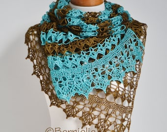 Lace crochet shawl, Brown, Turquoise,  P424