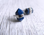 Lapis Lazuli Silver Terminated Point Crystal Earrings   Crystal Point Earrings   Lapis Lazuli Studs   Blue Gold Gemstone Earrings