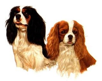 CAVALIER King Charles Dogs in 3 Poses & Colors. Total TWELVE 6 inch Fabric Squares for Quilting and Sewing