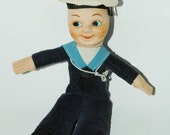 Vintage Sailor Boy 1950s Stuffed Doll Collectible