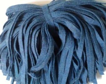 75 Hand Dyed Wool Rug Hooking Strips Sea Blue