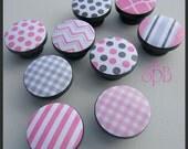Chevron Knobs • Pink Pattern Knobs • Stripe Drawer Pulls • Polka Dot Knobs • Gingham Knobs • Pink and Grey Nursery Knobs • Made-to-Order