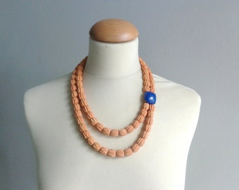 Orange blue double strand statement necklace