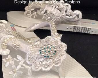 So Sweet Bride Paige Venice Lace OOAK Something Blue Bridal Wedding Flip Flops