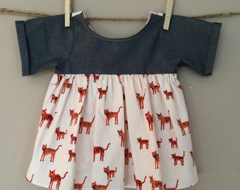 shortees tiny tigress top : girls tulip back tunic - available in infant and big girl sizes